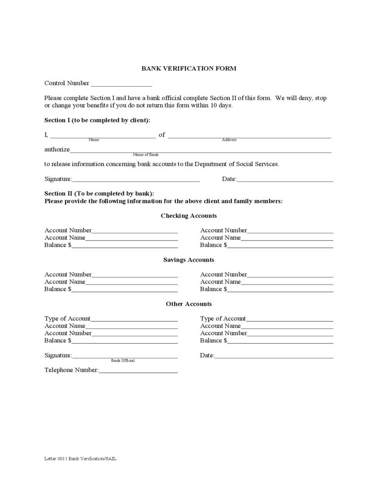 Bank Verification Form - 2 Free Templates in PDF, Word, Excel Download