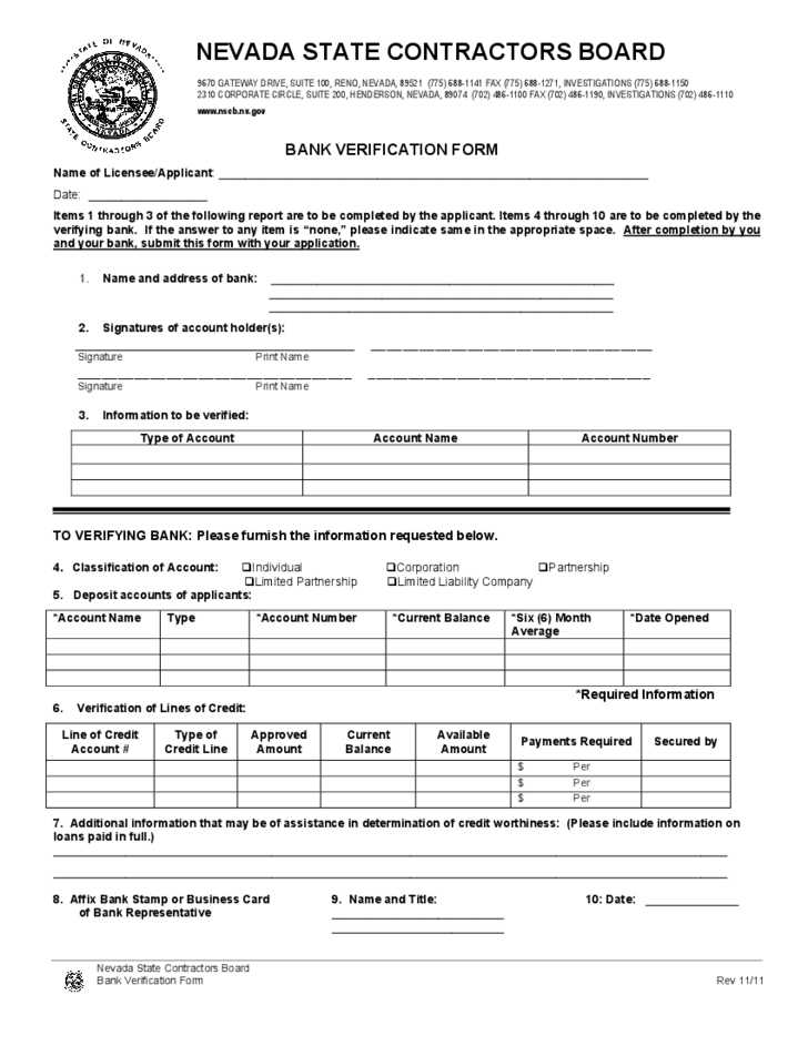 Bank Verification Form - Nevada Free Download