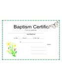 Standard Baptism Certificate Template Free Download