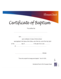 Blank Certificate of Baptism Free Download