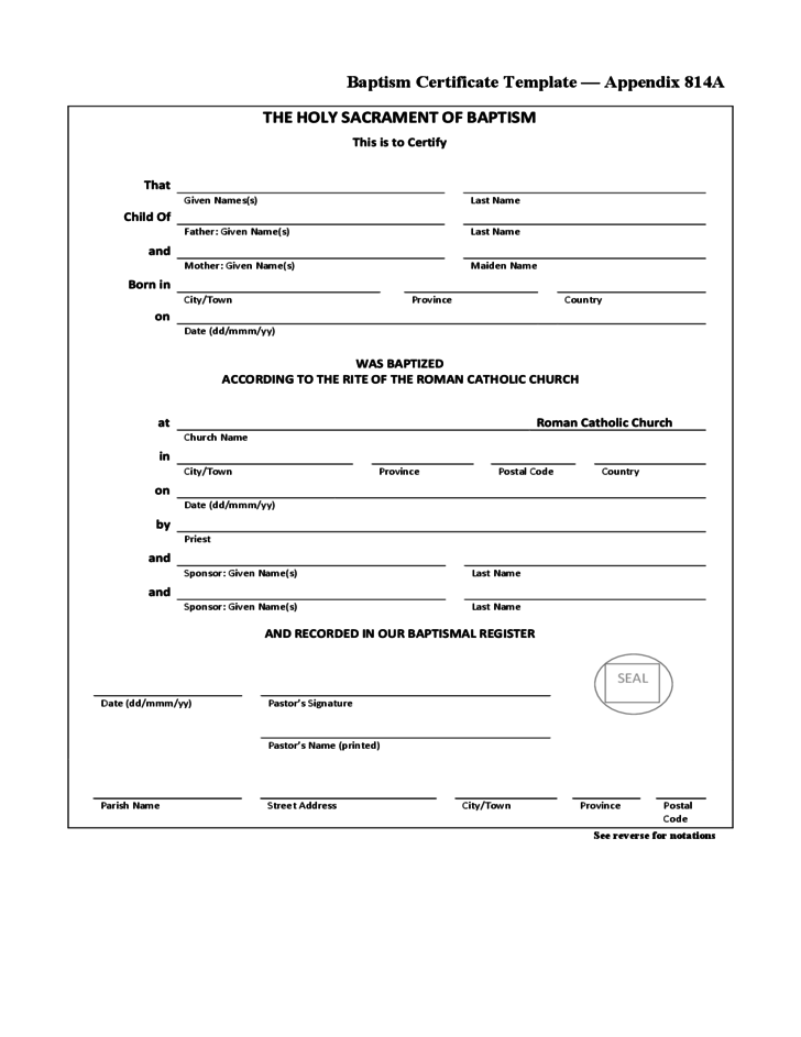 Simple baptism certificate template free download for Baptism certificate template pdf