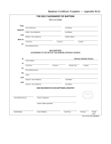Simple Baptism Certificate Template Free Download