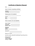 Certificate of Baptism Request - Chicago Free Download