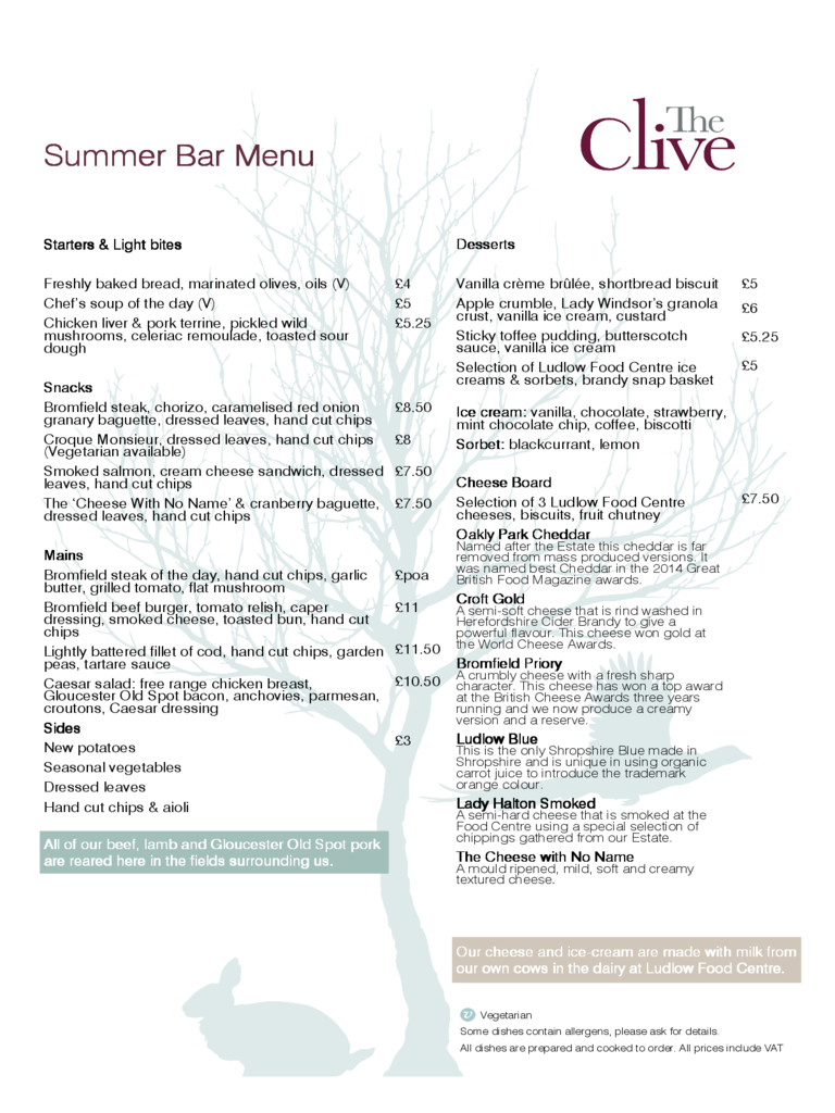 Summer Bar Menu Templates