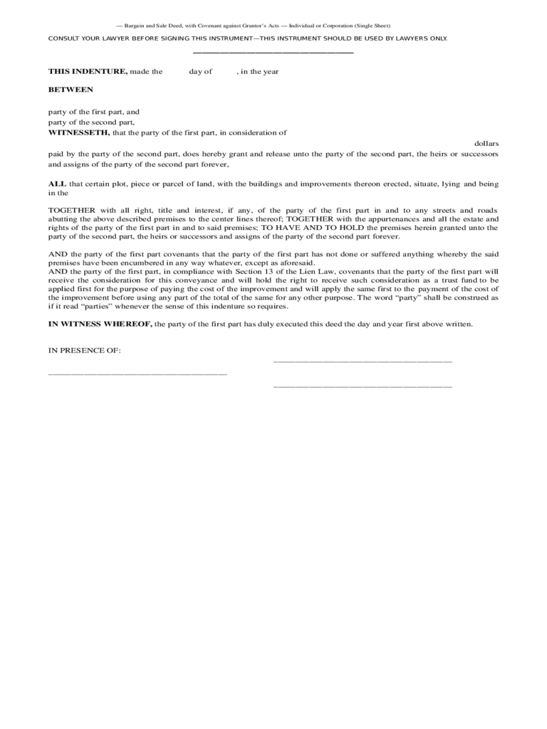 Bargain and Sale Deed with Covenants - New York Free Download