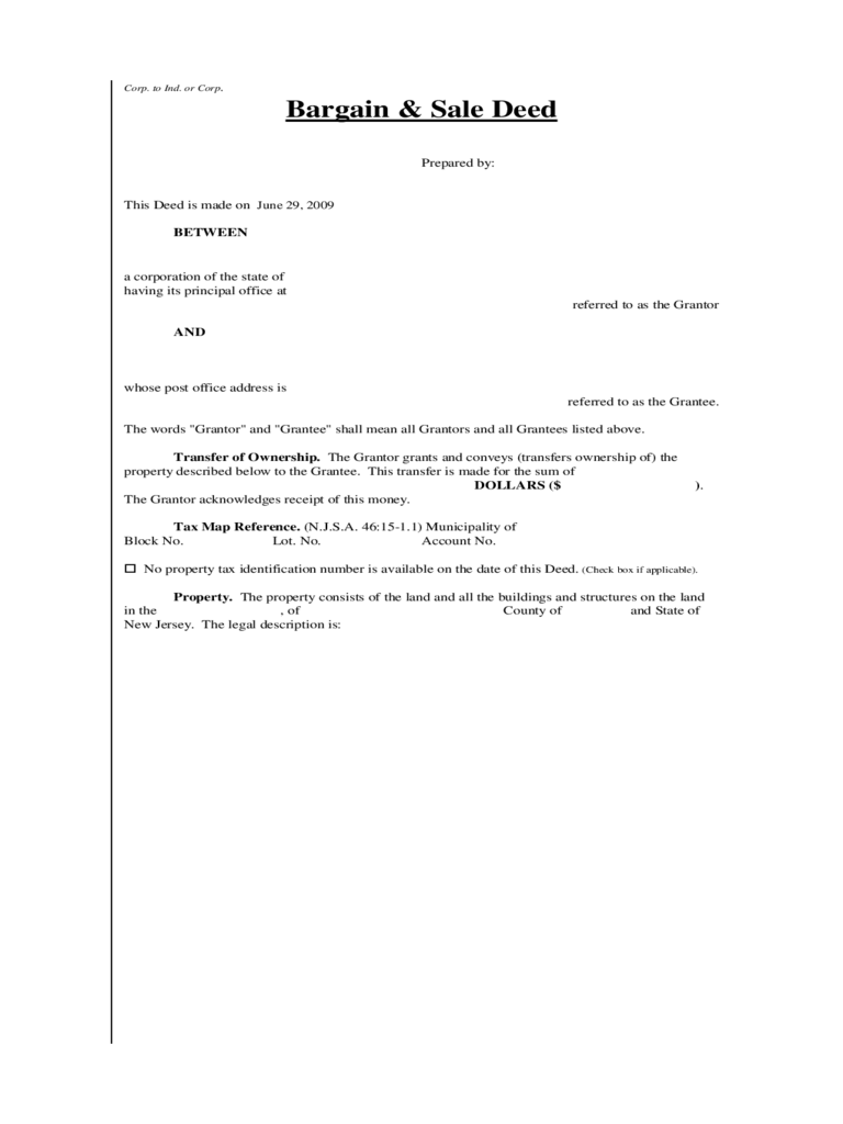 Bargain and Sale Deed (Corp to Ind or Corp) - New Jersey