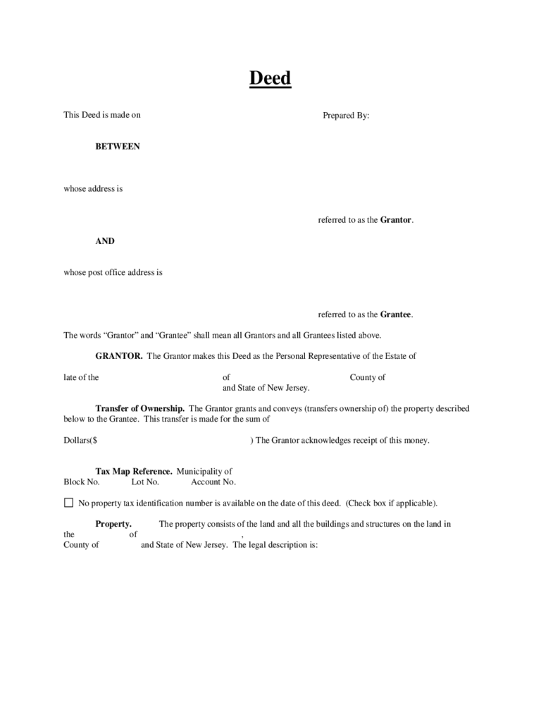 Bargain and Sale Deed (Covenants - Ind) - New Jersey