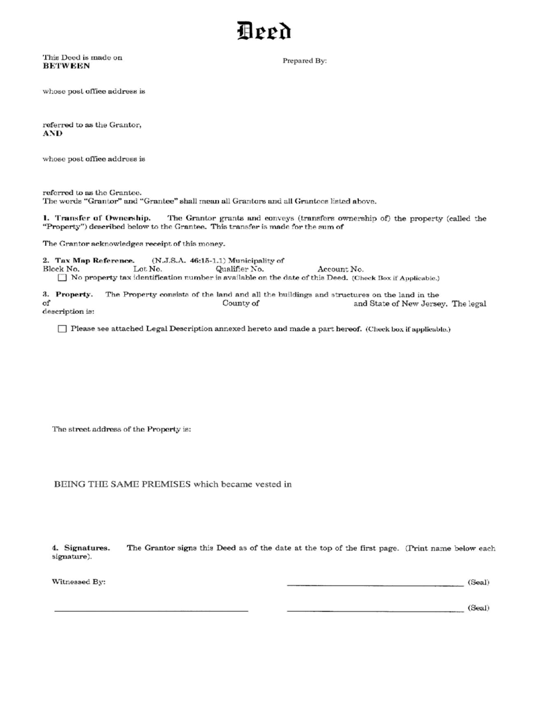 Bargain and Sale Deed (Ind to Ind) - New Jersey