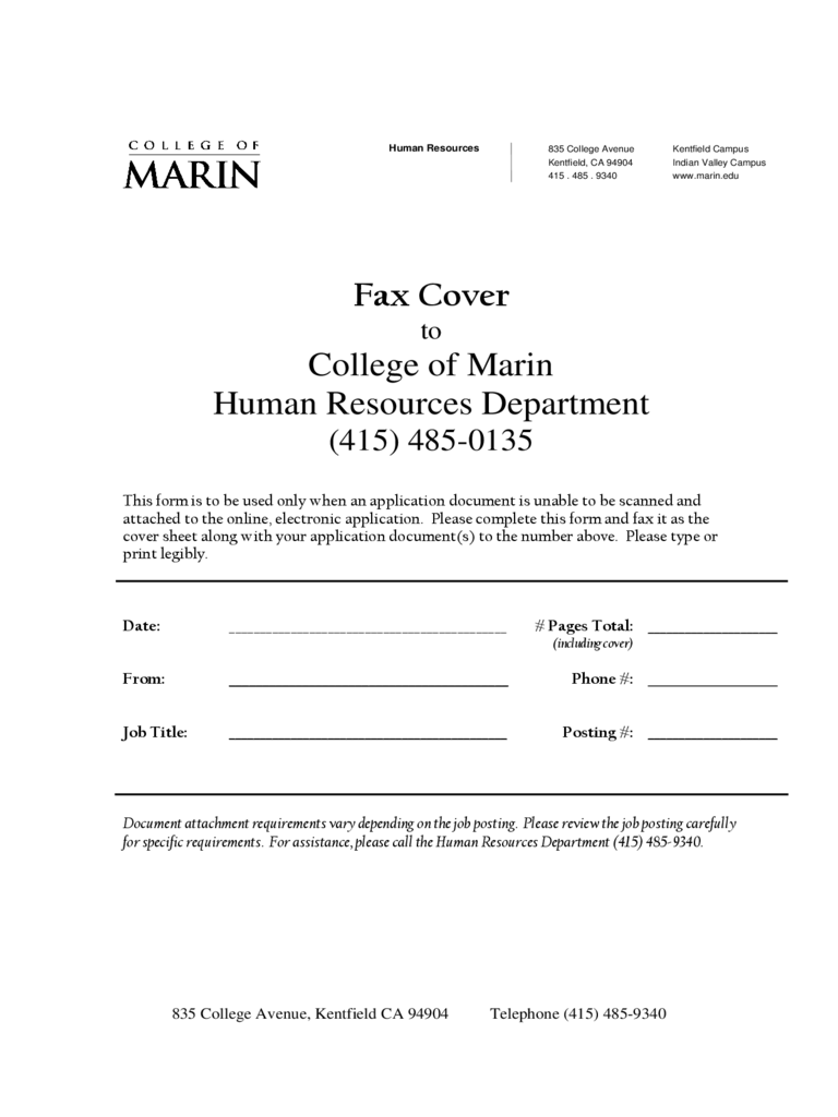 Sample Fax Cover Sheet - College of Marin