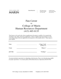 Sample Fax Cover Sheet - College of Marin Free Download