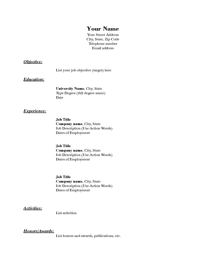 Sample Basic Resume Template
