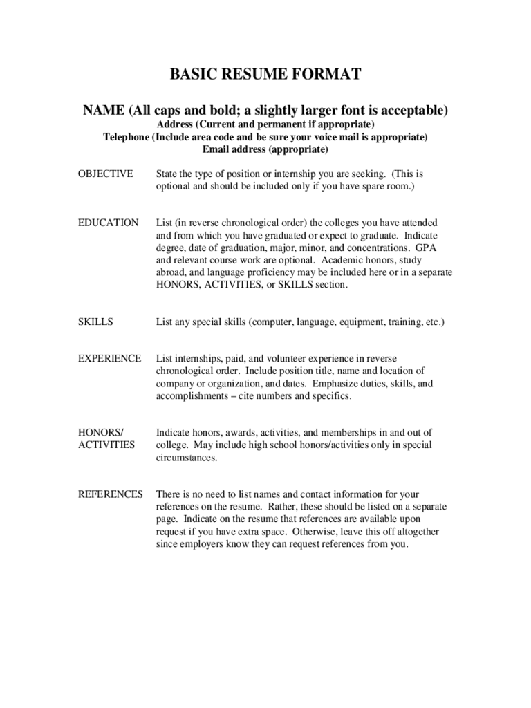 basic resume format free download - Basic Resume Template