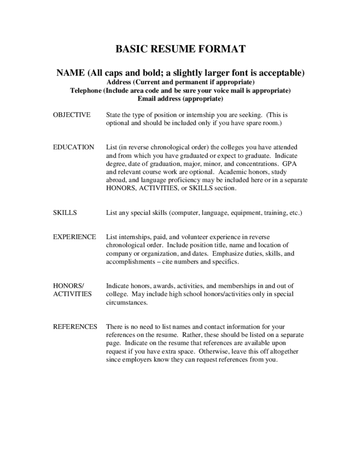 Basic Resume Format  Resume Reference Template