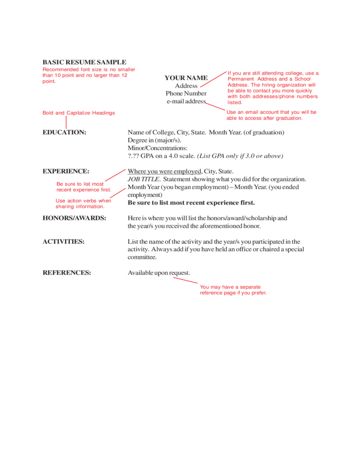 basic resume sample free download