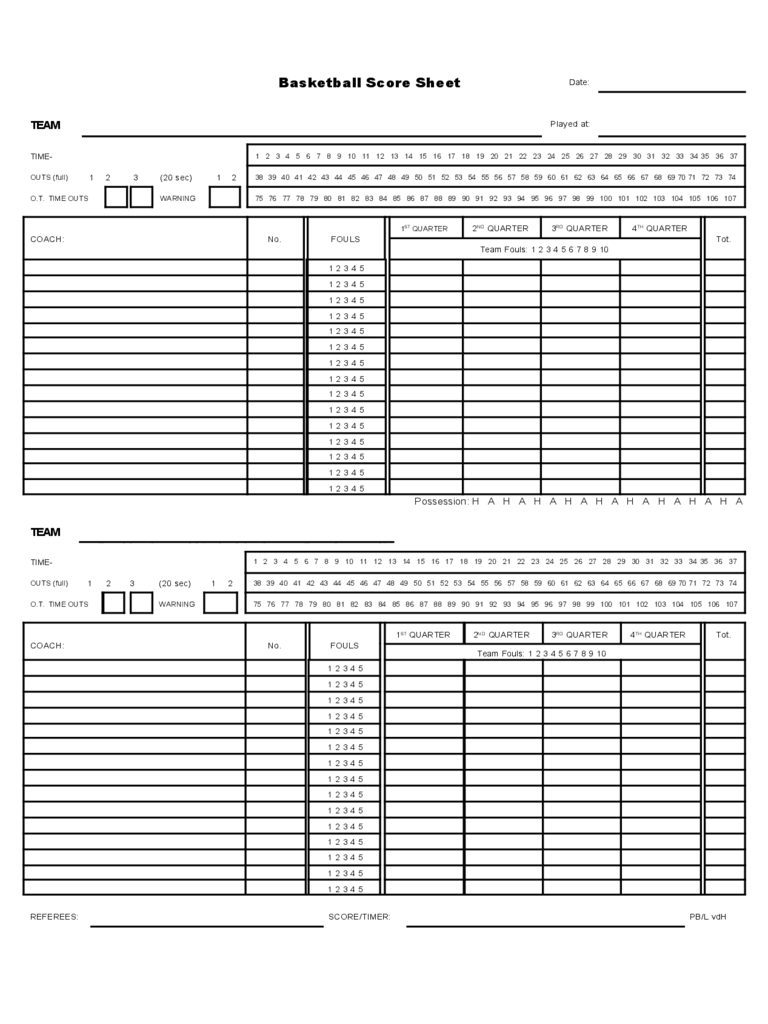 image regarding Printable Basketball Scorebook Sheets called Basketball Ranking Sheet - 9 No cost Templates within PDF, Term