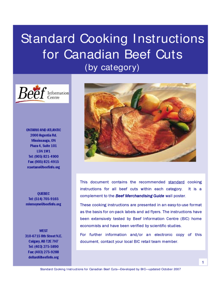 Standard Cooking Instructions for Canadian Beef Cuts