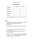 Simple Behavior Chart for Teacher Free Download