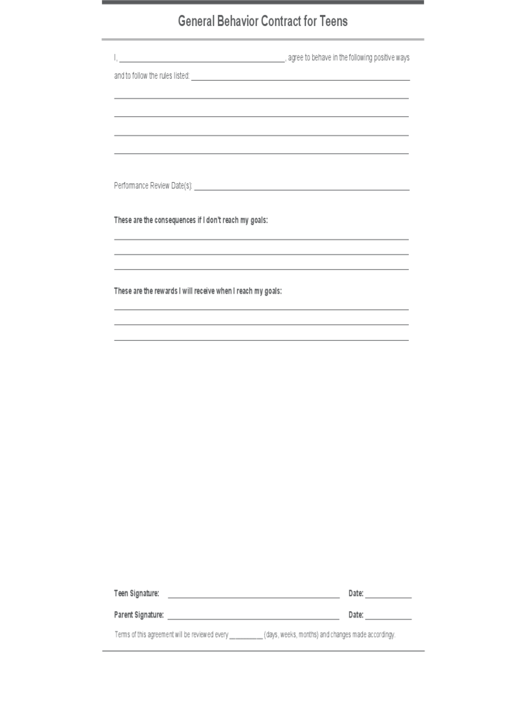 Behavior Contract Template  6 Free Templates in PDF  Word
