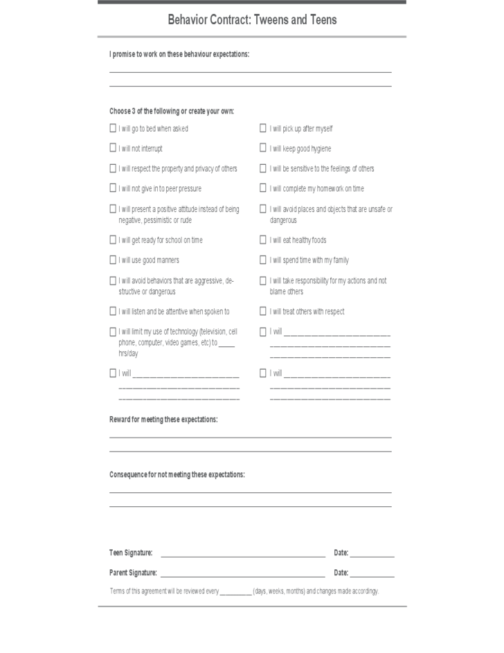 Teens Behavior Contract Template Free Download