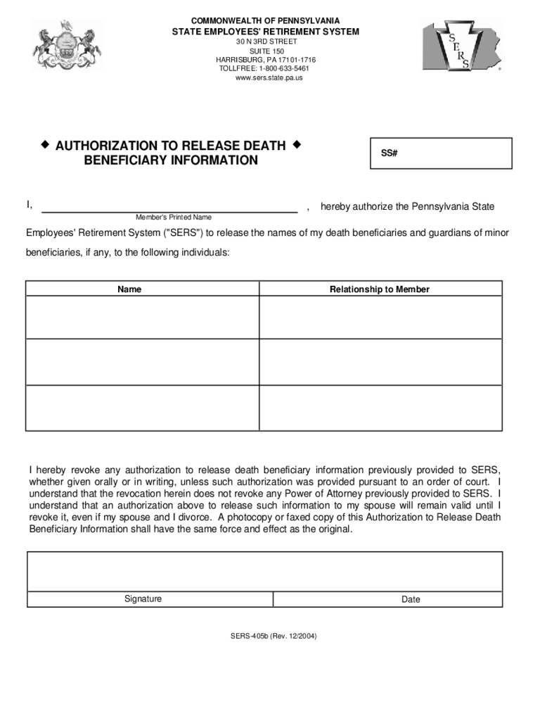 Authorization To Release Death Beneficiary Information Form   Pennsylvania