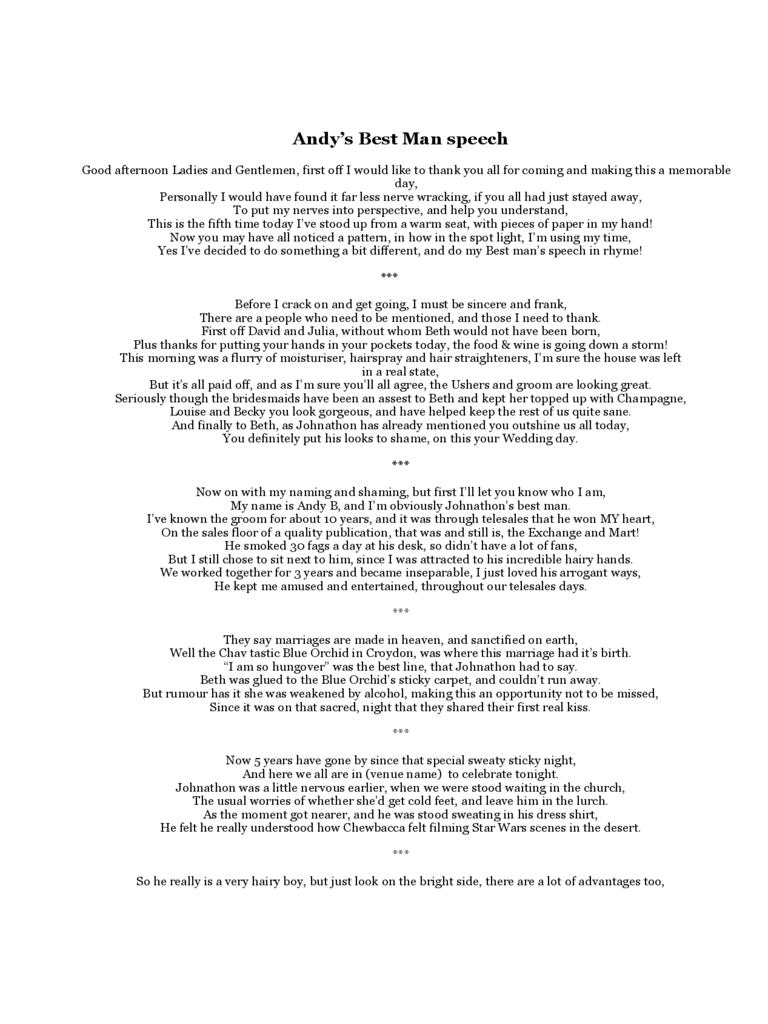 Best Man Speech Examples 3 Free Templates In Pdf Word