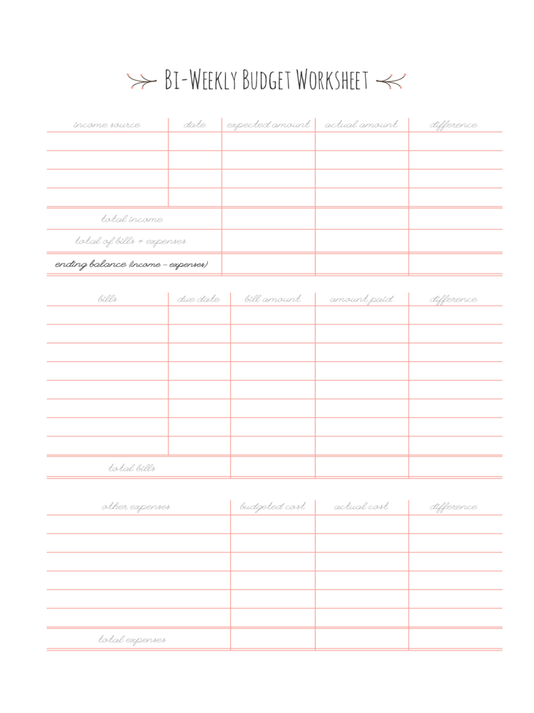 Bi-Weekly Budget Template - 3 Free Templates in PDF, Word ...