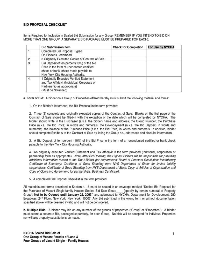 Bid Proposal Checklist   New York City  Bid Proposal Template Free
