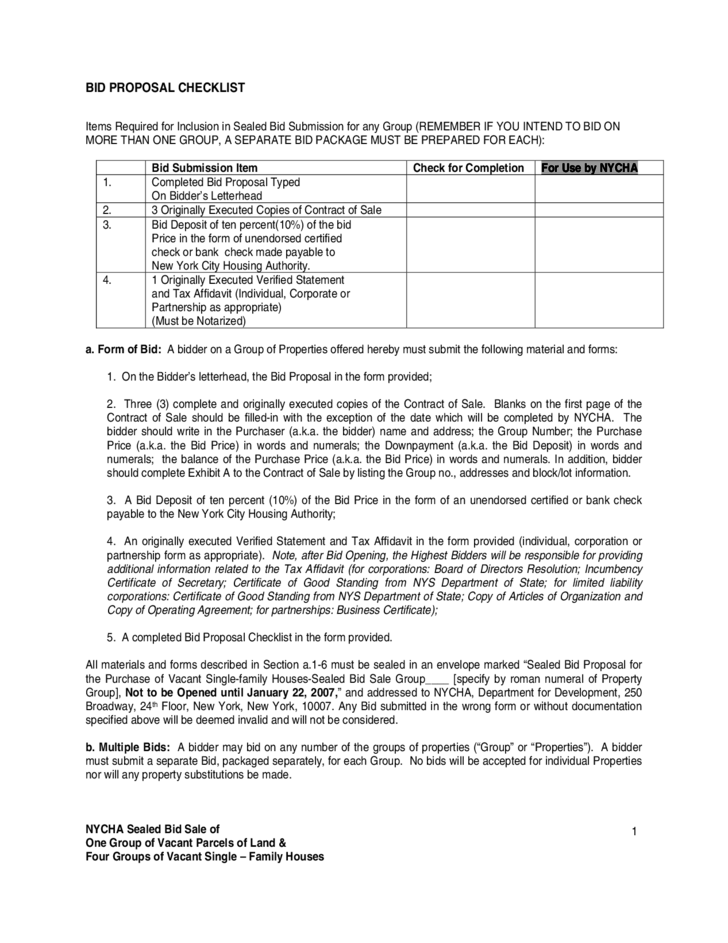 Bid Proposal Checklist New York City Free Download