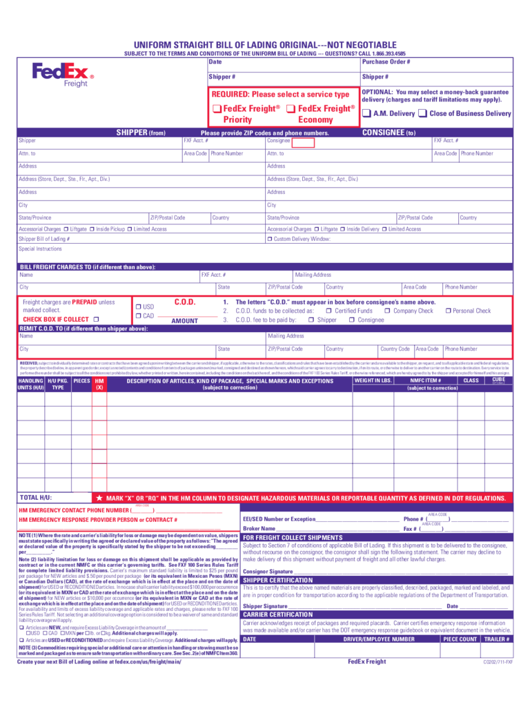 bill of lading download free