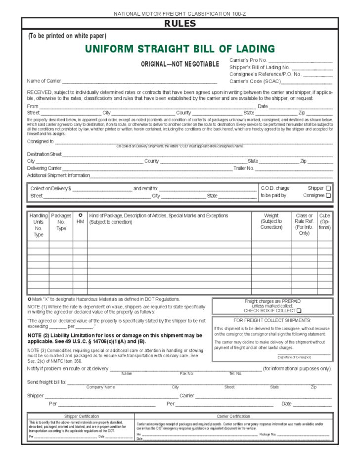 Straight Bill of Lading Free Download