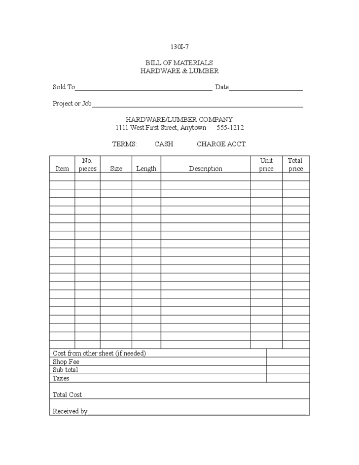 bill of materials template example free download