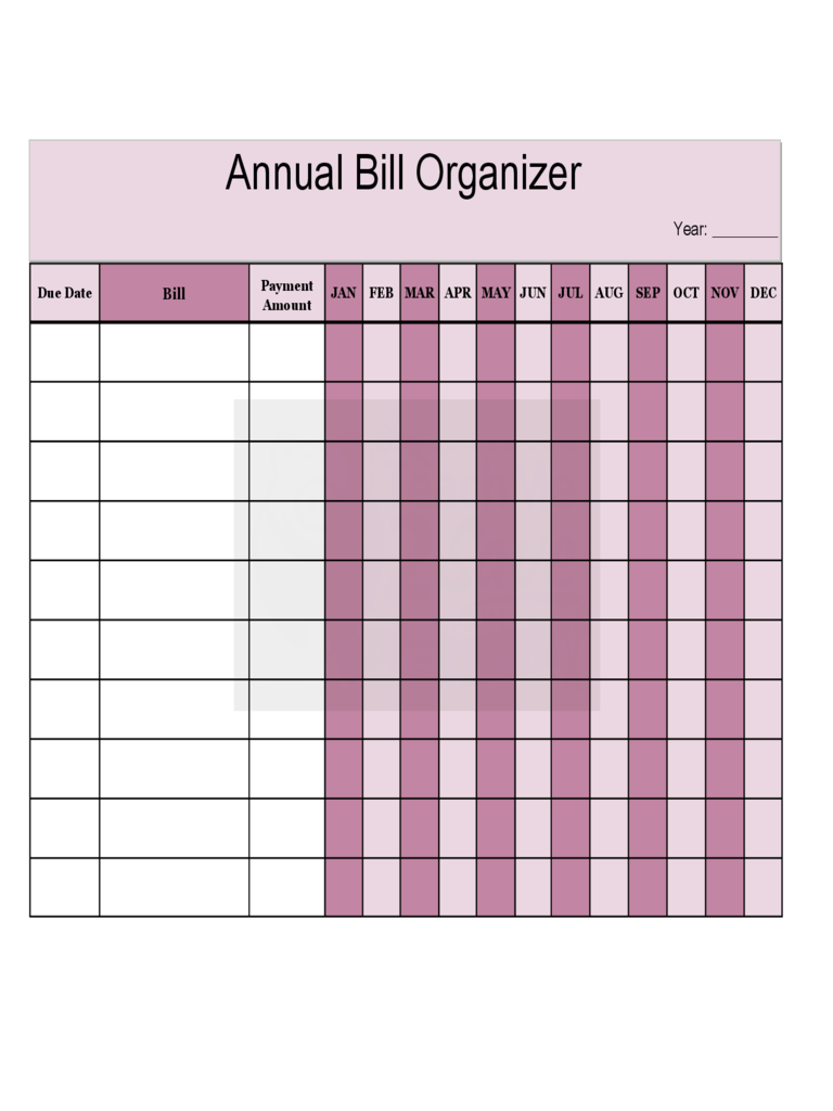 Annual Bill Organizer Chart