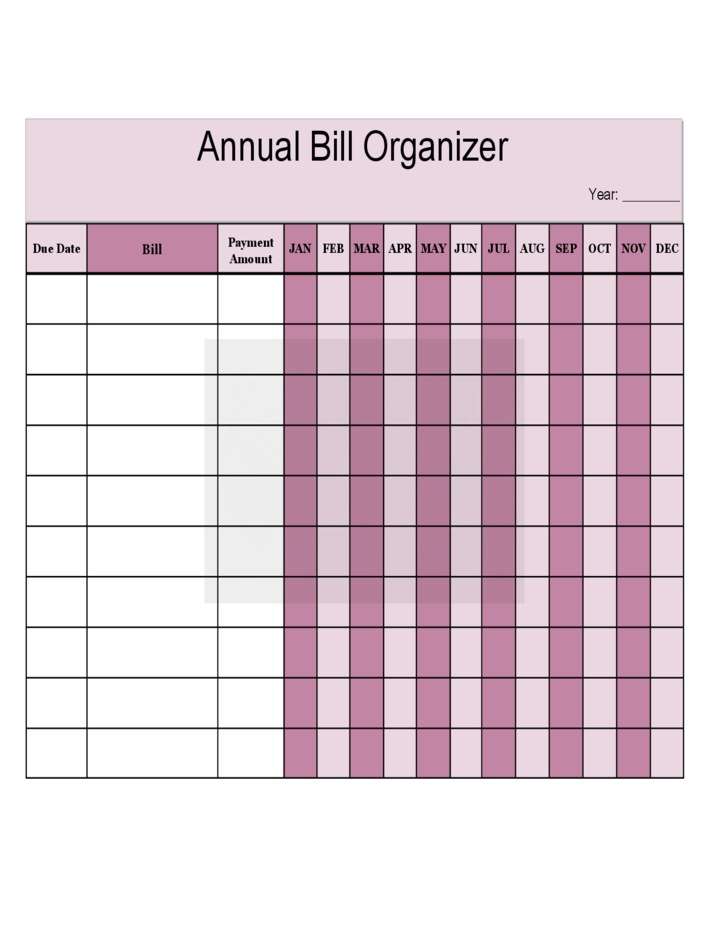 Annual Bill Organizer Chart Free Download