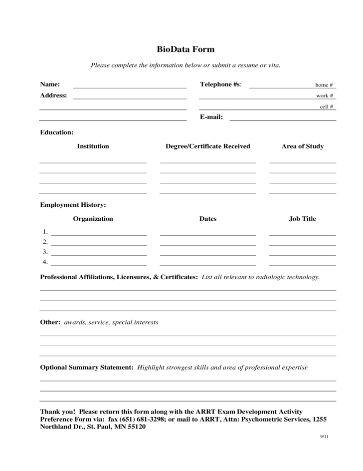 sample bio data form