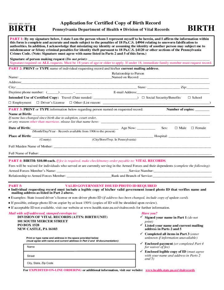 application for certified copy of birth record - pennsylvania free ...