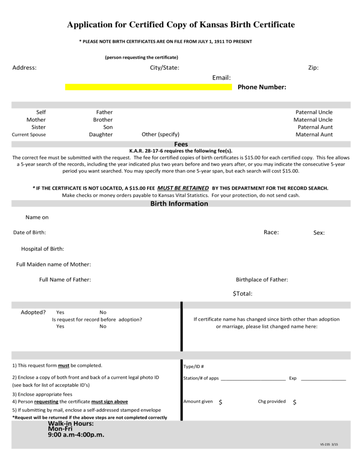 Application for Certified Copy of Kansas Birth Certificate Free Download