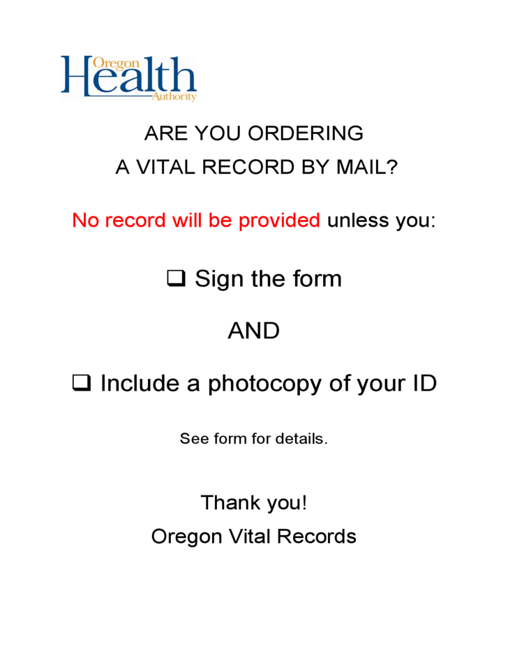 Birth Record Order Form - Oregon Free Download