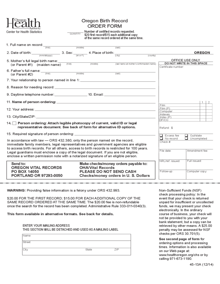 Birth Record Order Form Oregon Free Download