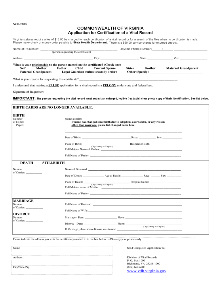 Application for Certification of a Vital Record - Virginia