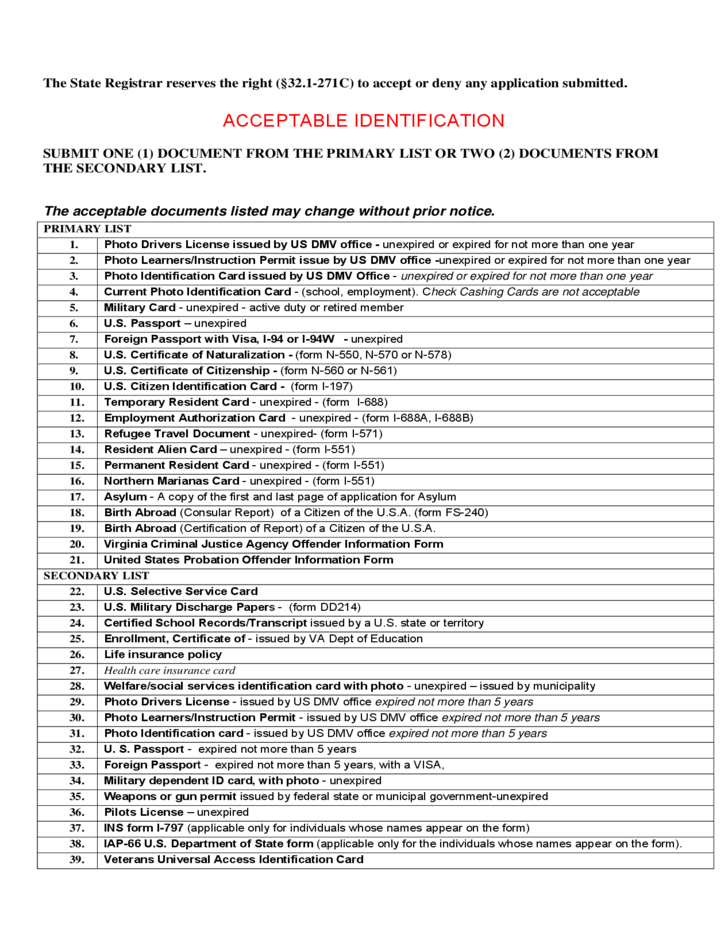 Application for Certification of a Vital Record - Virginia Free ...