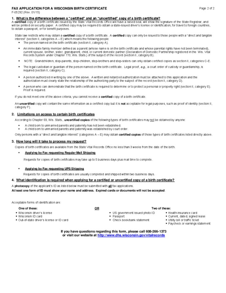 birth certificate wisconsin application fax form