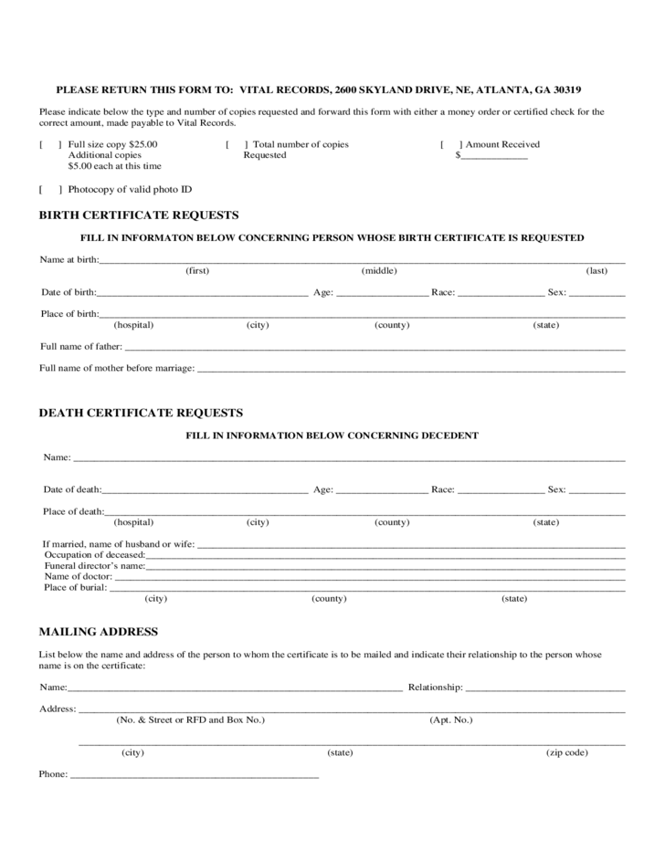 Birth Certificate Request Form - Georgia Free Download