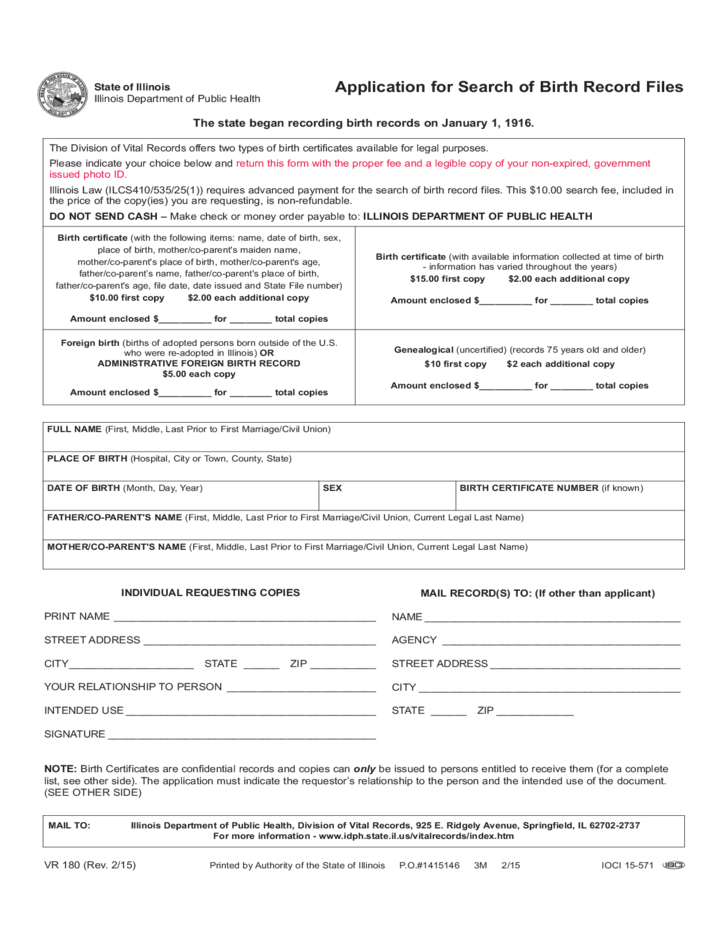 Application For Search Of Birth Record Files Illinois Free Download