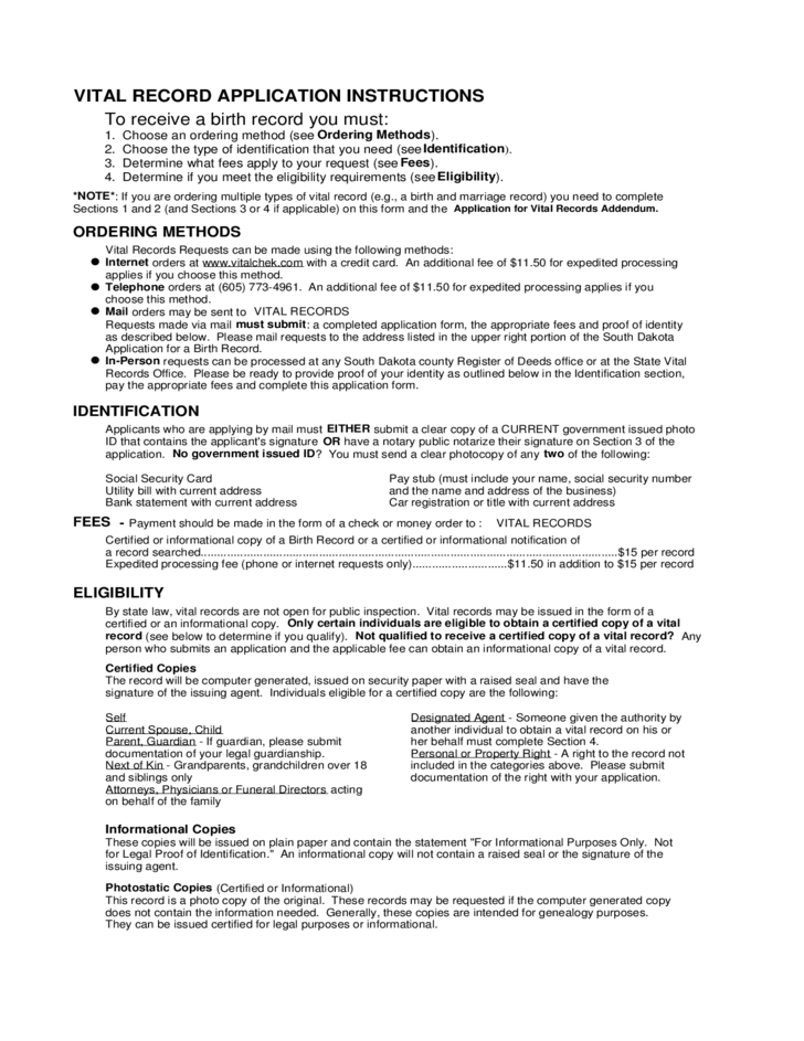 Application For A Birth Record South Dakota Free Download