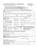 Application for a Birth Record - South Dakota Free Download