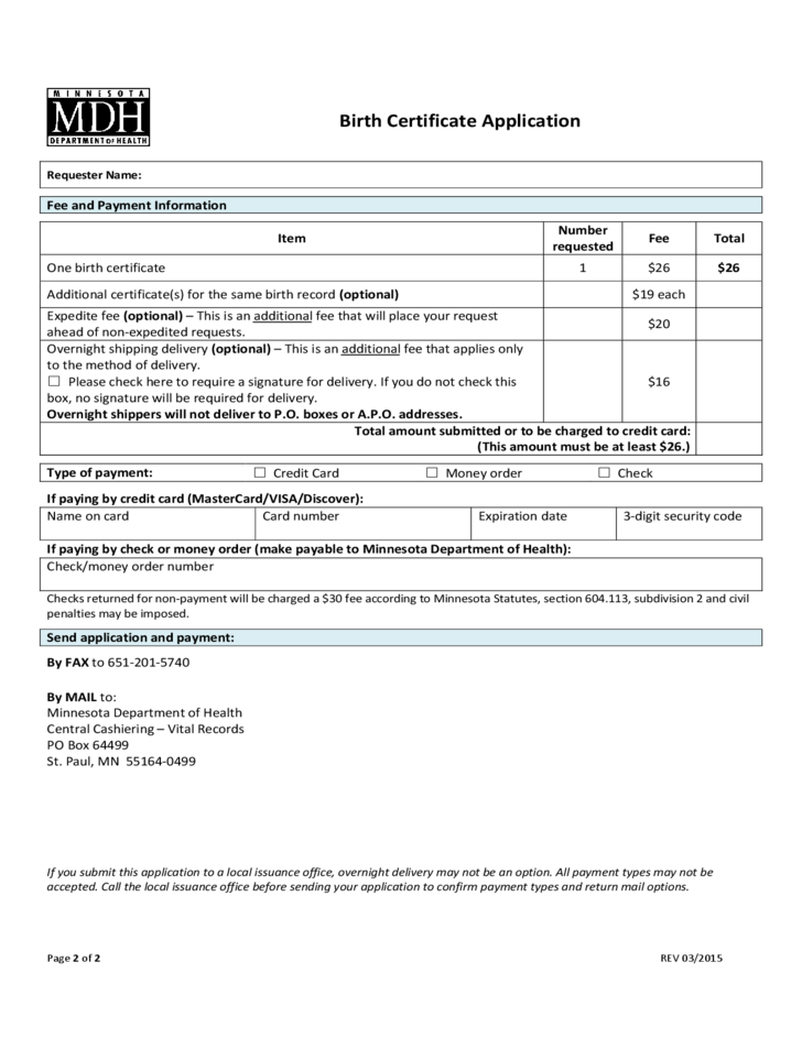 Birth Certificate Application - Minnesota Free Download