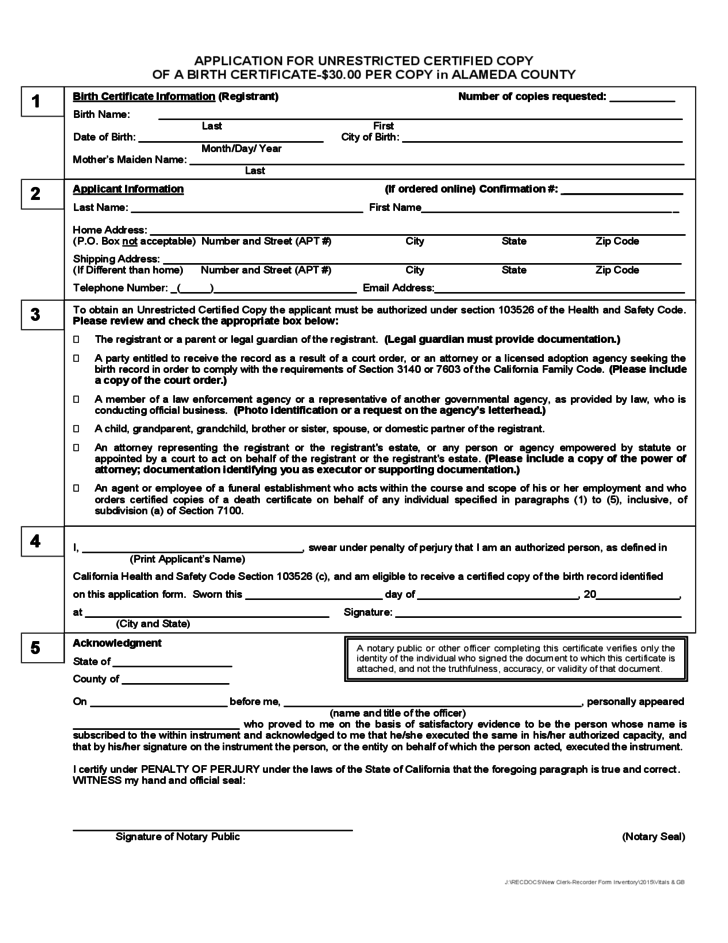 Birth Certificate Order Form Alameda County Free Download