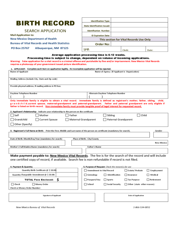 Birth Certificate Request Form New Mexico Free Download