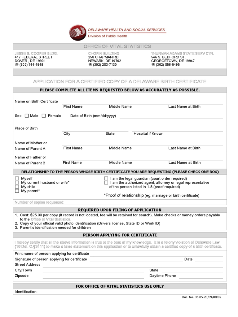 Application for a Certified Copy of a Birth Certificate - Delaware