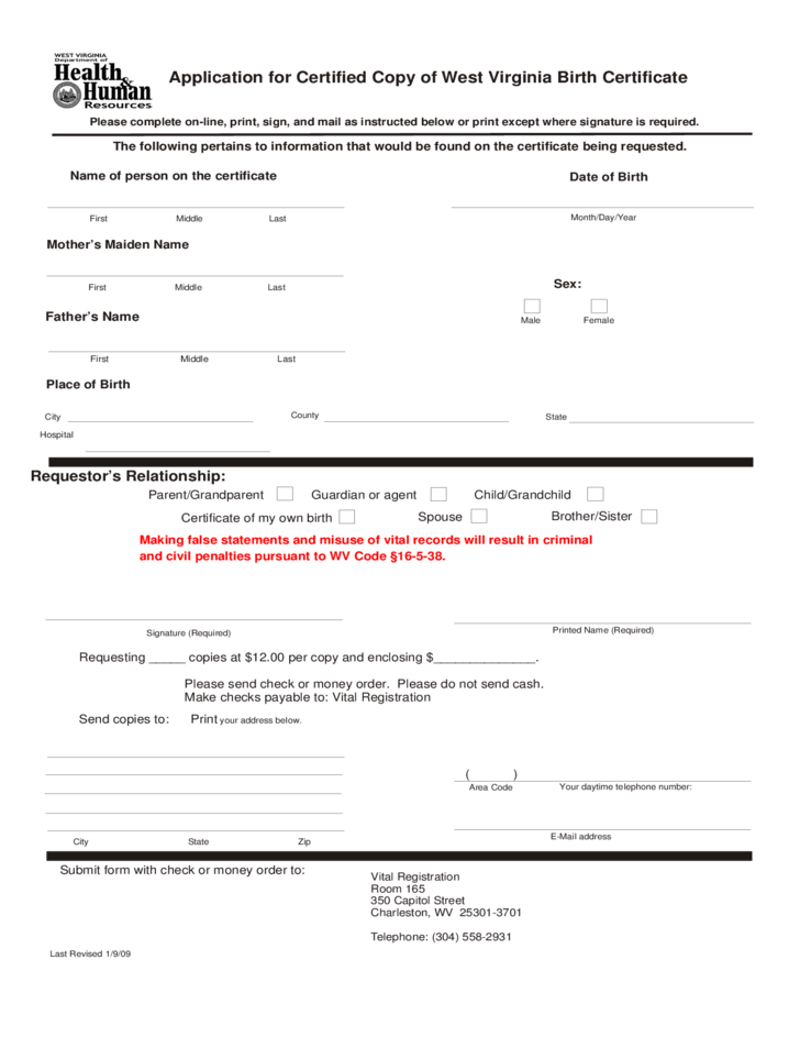 Application For Certified Copy Of Birth Certificate West Virginia